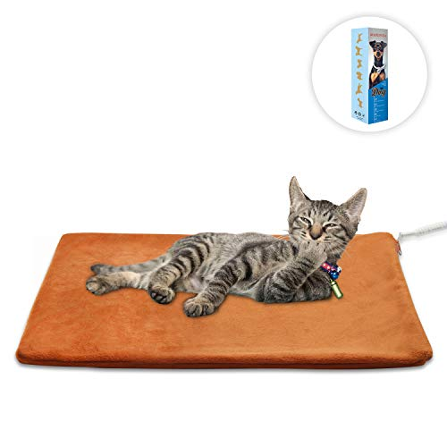 Pet Heating Pad Small,Cat Dog heating Pad Indoor Waterproof,Auto Constant Temperature Warming 12x15 inches Bed with Chew Resistant Steel Cord