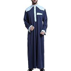 GladThink Men's Arab Muslim Thobe With Long Sleeves Mandarin Neck NAVY XXXL