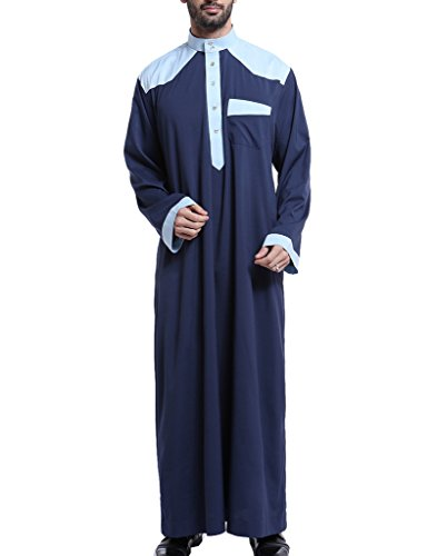 GladThink Men's Arab Muslim Thobe with Long Sleeves Mandarin Neck Navy XXL