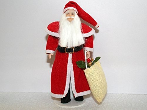Dolls House 1:12 Scale People Porcelain Father Christmas Santa Claus with Sack by - Jolly Old Santa Miniature