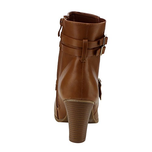 Per Sempre Ge20 Donna Con Cinturini Multipli In Chunky Tacco Abbottonato Con Stivaletti Alla Caviglia