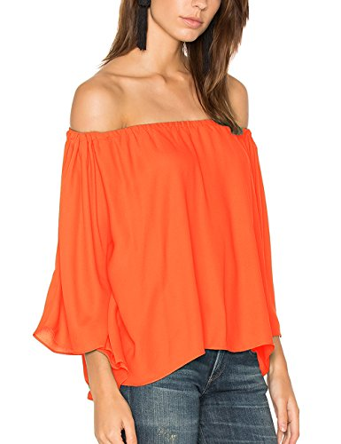 c827e3107a5 ALLY-MAGIC Women's Off Shoulder Tops Short Sleeves Shirt Strapless Blouses  C4734 (M, Orange)
