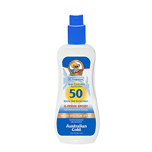 Australian Gold X-treme Sport Spray Gel Sunscreen, Broad Spectrum, Water Resistant, SPF 50, 8 ()