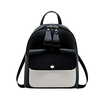 TOOGOO Women Girls School Bag Pu Leather Backpack Backpack Purse Travel Handbag,Black