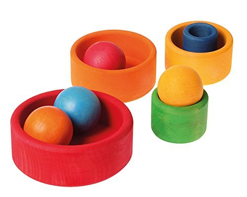 Grimm's Set of 5 Small Wooden Stacking & Nesting Rainbow Bowls, Red Outside