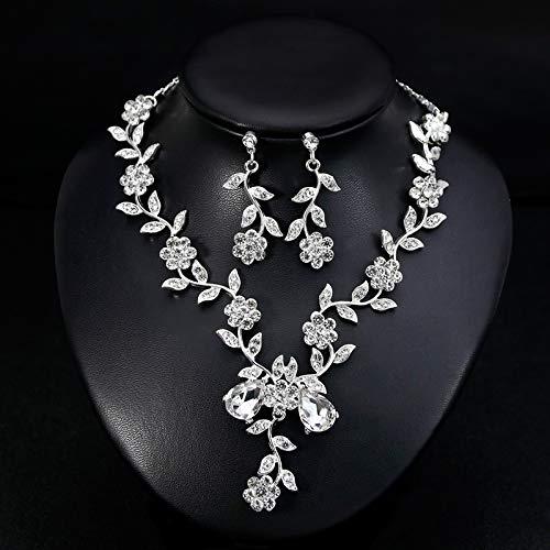 Hoveey Gargantilla de bisuter/ía Elegante Collar de Boda Pendientes Conjunto Ideal Regalo para el d/ía de San Valent/ín cumplea/ños