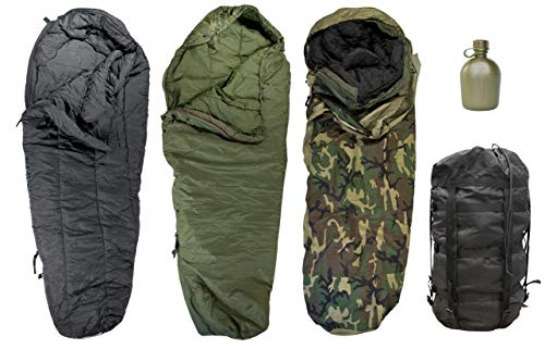 Genuine US Military Modular Sleep System 4 Piece with Woodland Goretex Bivy Cover and Carry Sack + Free ()