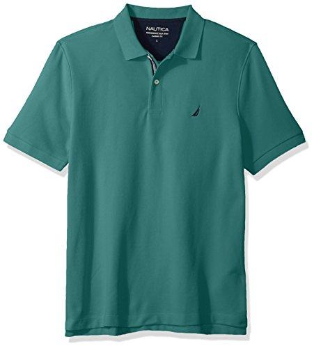 Nautica Men's Classic Short Sleeve Solid Polo Shirt, Emerald Coast, X-Large