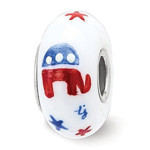 er Hand Painted Patriotic Republican Glass Charm (Fenton Elephant)