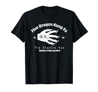 Mens Shaolin Kung Fu Five Dragon T-shirt 2XL Black