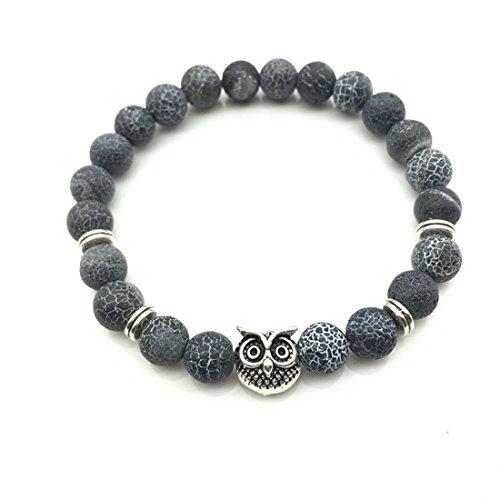 Hi-Unique Owl Charm Beaded Bracelet Healing Energy Lucky Stone Bracelet Essential Oil Diffuser for Men Women
