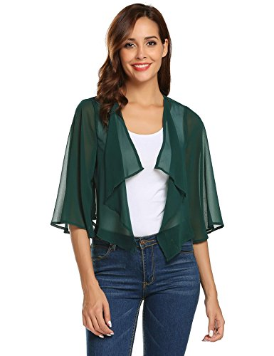 Pinspark Women's Sheer Bolero Shrug Shawl Chiffon Thin Cardigan (M, Dark (Chiffon Green)