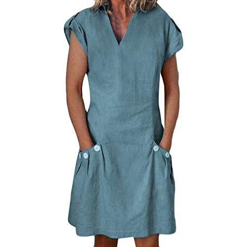2019 TRENDIANO Women's Pockets Dress,Casual Button Solid Color Ruched Ruffled V-Neck Loose Shirt Dresses Green
