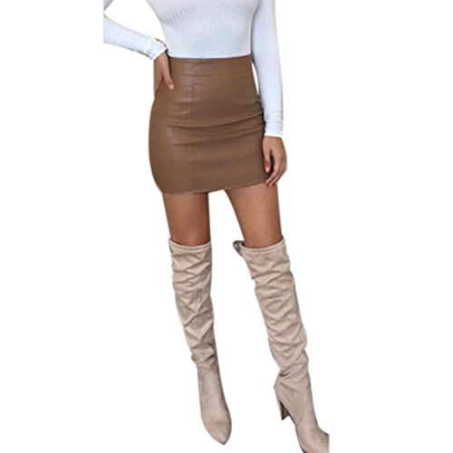 Womens Leather Tan Mini (LISTHA Pencil Mini Skirt for Women Leather High Waist Sexy Bandge Hip Short Skirts)