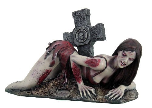 UNDEAD ZOMBIE STRIPPER GIRL STATUE SKULL EMERGING FROM GRAVE by Pacific Giftware
