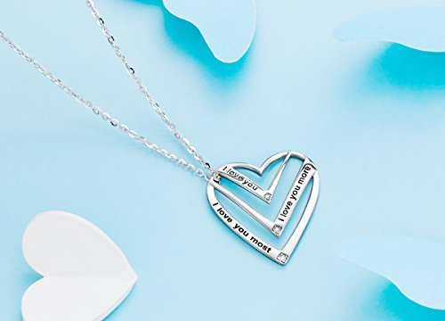 Victoria Jewelry ''I Love You,I Love You More,I Love You Most Engraved Pendant - 925 Sterling Silver Heart Necklace for Women by Victoria Jewelry (Image #1)