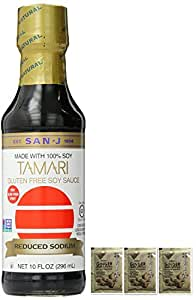 San-J Tamari Gluten Free Sauce Reduced Sodium, 10 Ounce plus a Free Gift Instant Ginger Honey Crystals