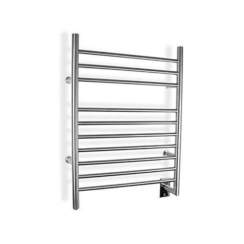 WarmlyYours 10-Bar Infinity Towel Warmer with Timer, Hardwired, Brushed Stainless Steel by WarmlyYours