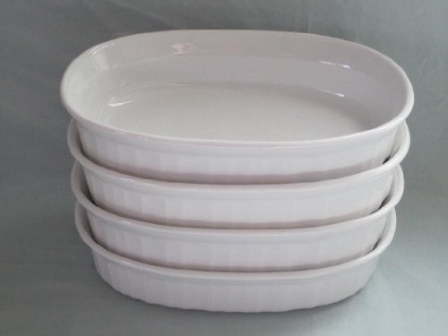 Set of 4 - Corning Ware French White Individual 475 ml Casserole Baking Dishes F-15-B