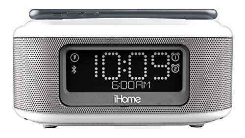 iHome iBTW23 Wireless Charging Bluetooth Alarm Clock with Speakerphone & USB Charging Port For iPhone X 8/8Plus & More- White (Renewed)