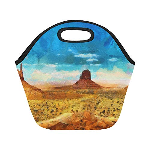 Insulated Neoprene Lunch Bag Colorful Art Oil Painting Scenic Large Size Reusable Thermal Thick Lunch Tote Bags Lunch Boxes For Outdoor Work Office School