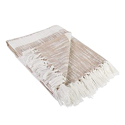 """DII Rustic Farmhouse Cotton Stripe Blanket Throw with Fringe For Chair, Couch, Picnic, Camping, Beach, & Everyday Use , 50 x 60"""" - Distressed Taupe - CONSTRUCTION - Handloom throw measures 50 x 60"""", 100% Cotton with twisted fringe, machine wash cold and tumble dry low QUALITY IN THE DETAILS - Old-fashioned look with a modern twist with decorative fringe for the perfect finish that won't unravel in the wash FITS THE RUSTIC, VINTAGE, OR DISTRESSED LOOK - This throw has a very chic and trendy look, throw over a couch or chair to add a splash of color and provide warmth on a cold night - blankets-throws, bedroom-sheets-comforters, bedroom - 41%2BNtuhjMGL. SS400  -"""