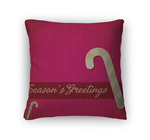 Gear New Throw Pillow Accent Decor, Seasons Greetings Candy Cane Card In Format, 20
