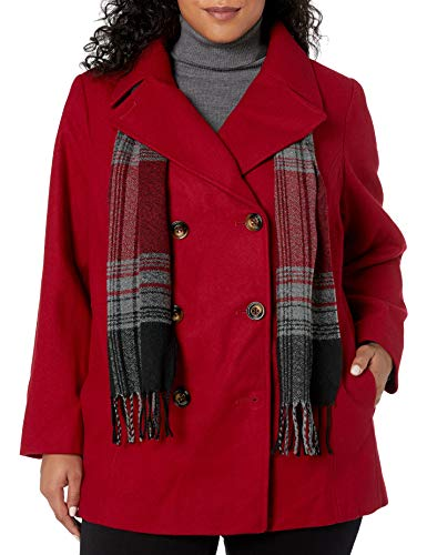 LONDON FOG Women's Double Breasted Peacoat with Scarf, Red, X