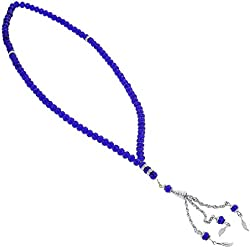 99 Count Dark Blue Islamic Rosary Prayer Bead Tasbih with Silver Colored Tassle