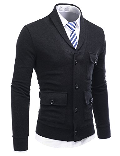 NEARKIN (NKNKCD133) Beloved Mens City Casual Shawl Collar Urbane Knitted Cardigan BLACK US M(Tag size M) by NEARKIN