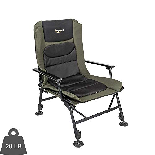 (VINGLI Professional Fishing Chair Foldable,180° Adjustable Reclining Mesh Padded Back,Outdoor Heavy Duty Camping/Picnic/Hiking/Beach Stool,Support 350LBS,w/Steel Armrest,Free Durable Carry Bag)