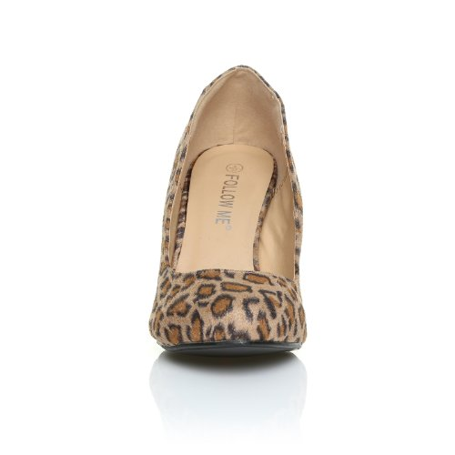 PEARL - Chaussures à talons aiguilles - Bout rond - Imprimé Léopard Microfibre