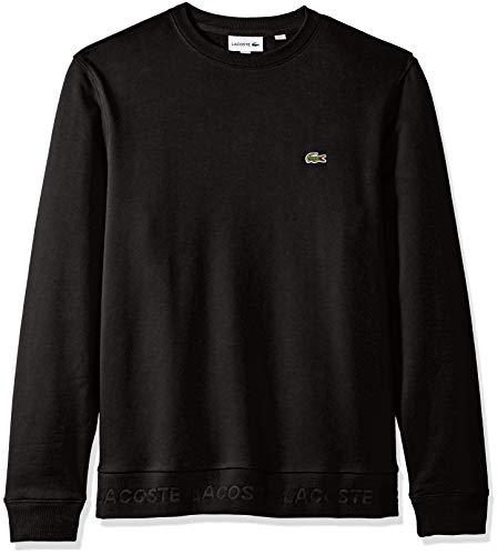 Lacoste Men's Long Sleeve Sweatshirt Print, French Terry, Black, ()