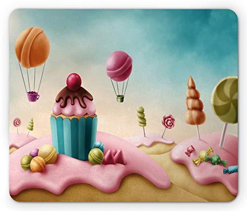 - Lunarable Retro Mouse Pad, Fantasy Candyland with Cupcake Bonbon Lollipops Food Fairytale Delicious Sweets, Standard Size Rectangle Non-Slip Rubber Mousepad, Multicolor
