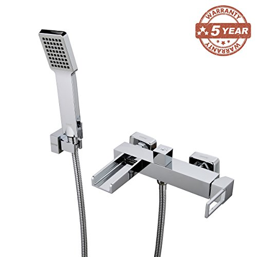 GAPPO Modern Single Handle Wall Mounted Waterfall Bath Tub Faucets With Hand Shower - Wall Mounted Roman Tub