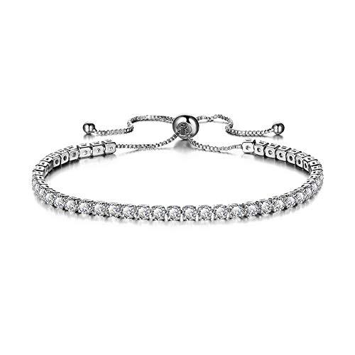 KELYNN Adjustable Women Cubic Zirconia Tennis Bracelet Beautiful Wedding Engagement Simulated Birthstone Jewelry (Silver-White)