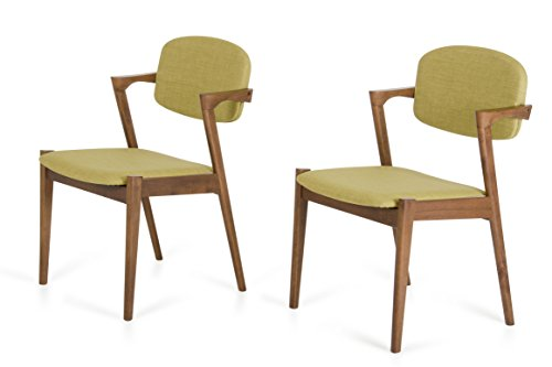 Limari Home Illyria Collection Scandinavian Design Inspired Modern Upholstered Linen Fabric and Wooden Dining Chairs, Green Tea, Set of 2 Review