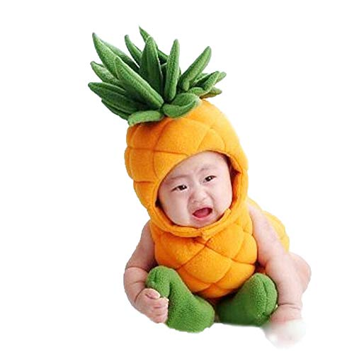 Shark strawberry Cute Newborn Photography Props Pineapple Costume Jumpsuit Baby Boy Girl Outfits Hat Socks Clothes (Yellow) -