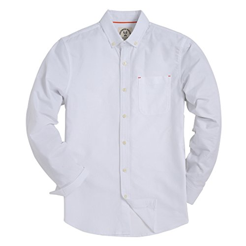 Piero Lusso Men's Long Sleeve Shirt Regular Fit Solid Color Oxford Casual Button Down Dress Shirt White Medium Long Sleeve Relaxed Fit Oxfords