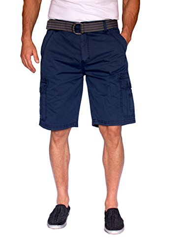 (Short Fin Cargo Shorts with A Belt (Navy, Size 36 8012))