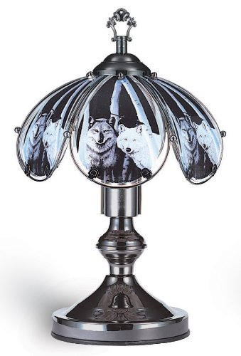 """ORE Furniture 14.25"""" Touch Lamp-Wolf- K320 Lamp 9"""" x 9"""" x 14"""
