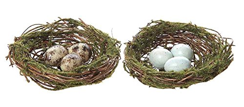 Round Artificial Moss Nest Ornament w/ Clip