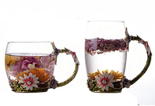 Bestbling Creative Decoration Enamel Flower Crystal Clear Glass Coffee Tea Water Milk Cup Mug 2 pieces in 1 Gift Box ()
