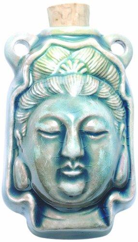 Kuan Yin Pendant - Peruvian Hand Crafted Ceramic Raku Glazed Kuan Yin Bottle Pendant, 27 by 42mm