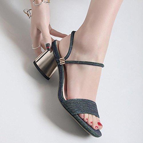 Dames Womens 3 Lanières Porter Bloc à Partie Chaussures Arrière Sandales Outdoor ZXMXY de Sandals de Façons Talon Vert Ouvert vZdxwW70