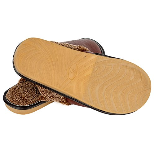 Haisum 8812-m - Zapatillas de estar por casa de piel vacuna para hombre marrón claro