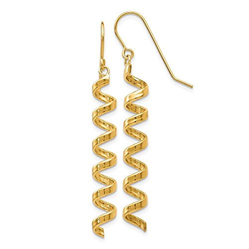 14k Yellow Gold Spiral Drop Dangle Chandelier Earrings Fine Jewelry Gifts For Women For Her ()