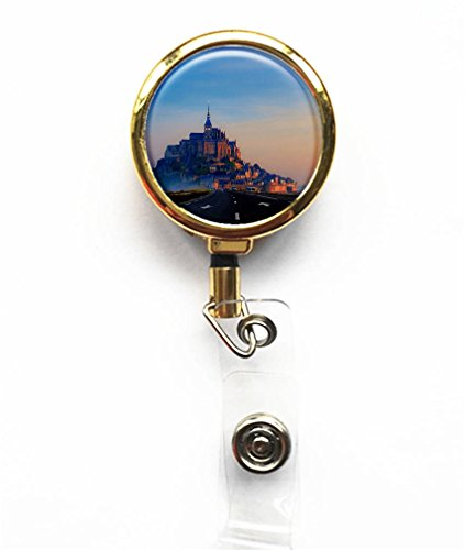 RainbowSky Mount-Saint-Michel And Its Bay Business ID Card Name Tag Custom Retractable Badge Holder Reel with Belt Clip, Gold, (Michel Clip)