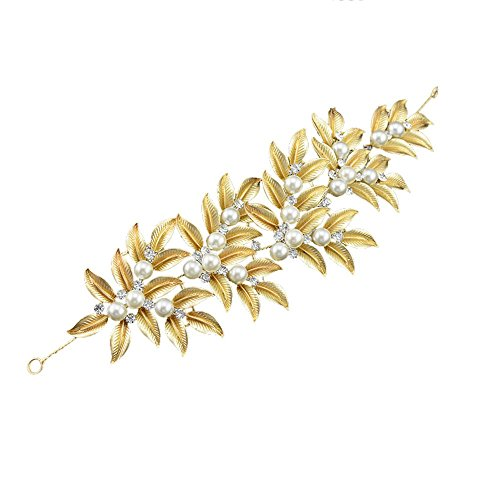 [Shaw'se Bridal Hair Jewelry Gold Plated Headbands Floral Crystal Hairwear Girl's Party Headpiece] (Indian Wolf Headdress Costume)