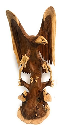Exquisite Hand Carved Eagle Scene 40'' X 16'' - Hand Carved | #rta20 by TikiMaster
